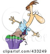 Royalty Free RF Clipart Illustration Of A Cartoon Businessman Standing On A Cliff And Looking Down