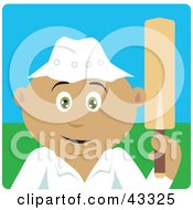 Clipart Illustration Of A Sporty Hispanic Man Holding A Cricket Bat by Dennis Holmes Designs