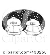 Royalty Free RF Clipart Illustration Of Coloring Page Line Art Of Two Alaskans In The Snow Over A Black Oval by toonaday