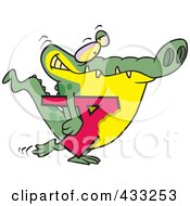 Royalty Free RF Clipart Illustration Of An Alligator Carrying A Bitten Letter A