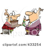 Royalty Free RF Clipart Illustration Of A Man Holding A Briefcase Open For His Boss As He Lights A Cigar With Cash