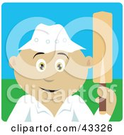 Clipart Illustration Of A Sporty Mexican Man Holding A Cricket Bat