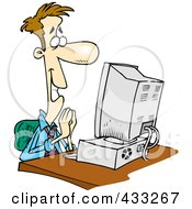 Pleased Cartoon Businessman Sitting In Front Of A Computer
