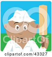 Clipart Illustration Of A Sporty Latin American Man Holding A Cricket Bat