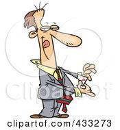 Royalty Free RF Clipart Illustration Of A Tricky Cartoon Businessman Pulling An Ace Out Of His Pocket by toonaday