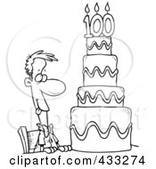 Royalty Free RF Clipart Illustration Of A Coloring Page Line Art Of A Hungry Cartoon Guy Drooling Over A 100 Birthday Cake