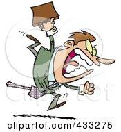 Royalty Free RF Clipart Illustration Of An Aggressive Cartoon Businessman Running