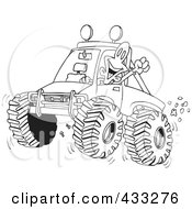 Royalty Free RF Clipart Illustration Of A Coloring Page Line Art Of An Excited Man 4wheeling His Truck Through Mud by toonaday