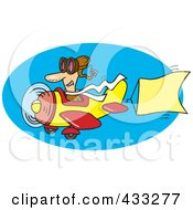 Royalty Free RF Clipart Illustration Of A Message Pilot Flying A Plane With A Banner by toonaday