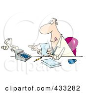 Royalty Free RF Clipart Illustration Of A Busy Cartoon Accountant Using A Calculator At His Desk