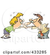 Royalty Free RF Clipart Illustration Of A Couple Catching Their Breath After A Fight by toonaday