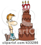 Royalty Free RF Clipart Illustration Of A Hungry Cartoon Guy Drooling Over A 100 Birthday Cake