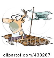 Royalty Free RF Clipart Illustration Of A Caucasian Man Adrift On A Log Raft by toonaday
