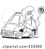 Royalty Free RF Clipart Illustration Of Coloring Page Line Art Of A Woman Backing Her Minivan Into A Pole by toonaday