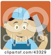 Clipart Illustration Of A Mexican Construction Worker Boy Holding A Saw by Dennis Holmes Designs