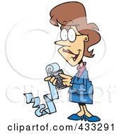 Royalty Free RF Clipart Illustration Of A Female Cartoon Accountant Holding A Calculator With A Long Strip Of Paper
