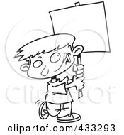 Royalty Free RF Clipart Illustration Of Coloring Page Line Art Of A Happy Boy Advertising With A Blank Sign