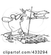Royalty Free RF Clipart Illustration Of Coloring Page Line Art Of A Man Adrift On A Log Raft by toonaday