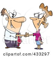Royalty Free RF Clipart Illustration Of A Cartoon Businessman Shaking Hands With A Businesswoman by toonaday