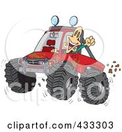 Royalty Free RF Clipart Illustration Of An Excited Man 4wheeling His Truck Through Mud by toonaday