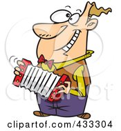 Royalty Free RF Clipart Illustration Of A Happy Cartoon Man Playing An Accordion by toonaday