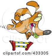 Royalty Free RF Clipart Illustration Of A Dog Catching A Ball And Leaping A Hurdle In An Agility Course by Ron Leishman