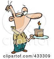Royalty Free RF Clipart Illustration Of A Grumpy Birthday Cartoon Man Holding A Slice Of Cake by toonaday
