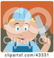 Clipart Illustration Of A Caucasian Construction Worker Boy Holding A Saw by Dennis Holmes Designs
