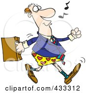 Royalty Free RF Clipart Illustration Of An Absent Minded Businessman Walking To Work In His Boxers