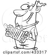 Royalty Free RF Clipart Illustration Of Coloring Page Line Art Of A Happy Cartoon Man Playing An Accordion