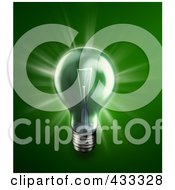 Royalty Free RF Clipart Illustration Of A 3d Glowing Green Light Bulb by Mopic