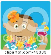 Clipart Illustration Of A Latin American Man In A Hawaiian Lei Drinking A Cocktail On Vacation by Dennis Holmes Designs