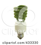 Royalty Free RF Clipart Illustration Of A 3d Grassy Fluorescent Lightbulb by Mopic
