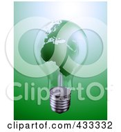 Royalty Free RF Clipart Illustration Of A 3d Green World Energy Crisis Light Bulb by Mopic