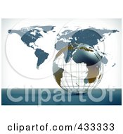 Royalty Free RF Clipart Illustration Of A 3d Wire Globe And Atlas