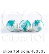 Royalty Free RF Clipart Illustration Of A Digital Collage Of 3d Blue And White Asian African And American Globes