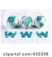 Royalty Free RF Clipart Illustration Of 3d Blue And White Asian African And American Globes Over WWW