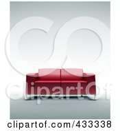 Royalty Free RF Clipart Illustration Of A 3d Red Leather Sofa by Mopic
