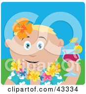 Clipart Illustration Of A Caucasian Man In A Hawaiian Lei Drinking A Cocktail On Vacation by Dennis Holmes Designs