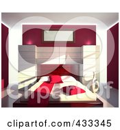 Royalty Free RF Clipart Illustration Of A 3d Modern Bedroom Decorated In Red And White