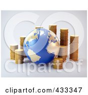 Royalty Free RF Clipart Illustration Of A 3d Globe With Stacks Of Coins by Mopic