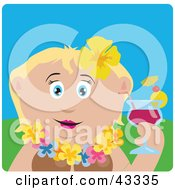 Clipart Illustration Of A Caucasian Woman In A Hawaiian Lei Drinking A Cocktail On Vacation by Dennis Holmes Designs
