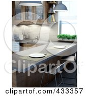 Royalty Free RF Clipart Illustration Of A 3d Modern Kitchen With A Breakfast Bar