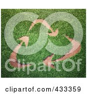 Royalty Free RF Clipart Illustration Of A 3d Grassy Recycle Arrow