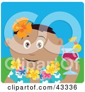 Clipart Illustration Of A Hispanic Man In A Hawaiian Lei Drinking A Cocktail On Vacation by Dennis Holmes Designs