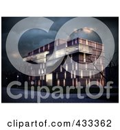Royalty Free RF Clipart Illustration Of A 3d Modern Office Building With Bare Trees On A Stormy Night