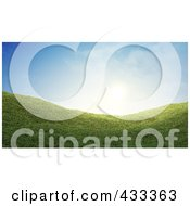 Royalty Free RF Clipart Illustration Of A 3d Grassy Hill Against A Blue Sky