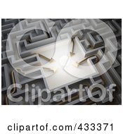 Royalty Free RF Clipart Illustration Of Four 3d Arrows Leading To A Glowing Ball In The Center Of A Maze