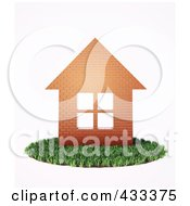 Royalty Free RF Clipart Illustration Of A 3d Brick House On A Patch Of Grass by Mopic