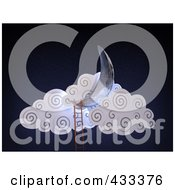 Royalty Free RF Clipart Illustration Of A 3d Ladder Leading To A Crescent Moon And Clouds by Mopic
